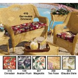 Wicker outdoor couch/sofa and chair with red cushions, patio furniture cushions, replacement cushions.